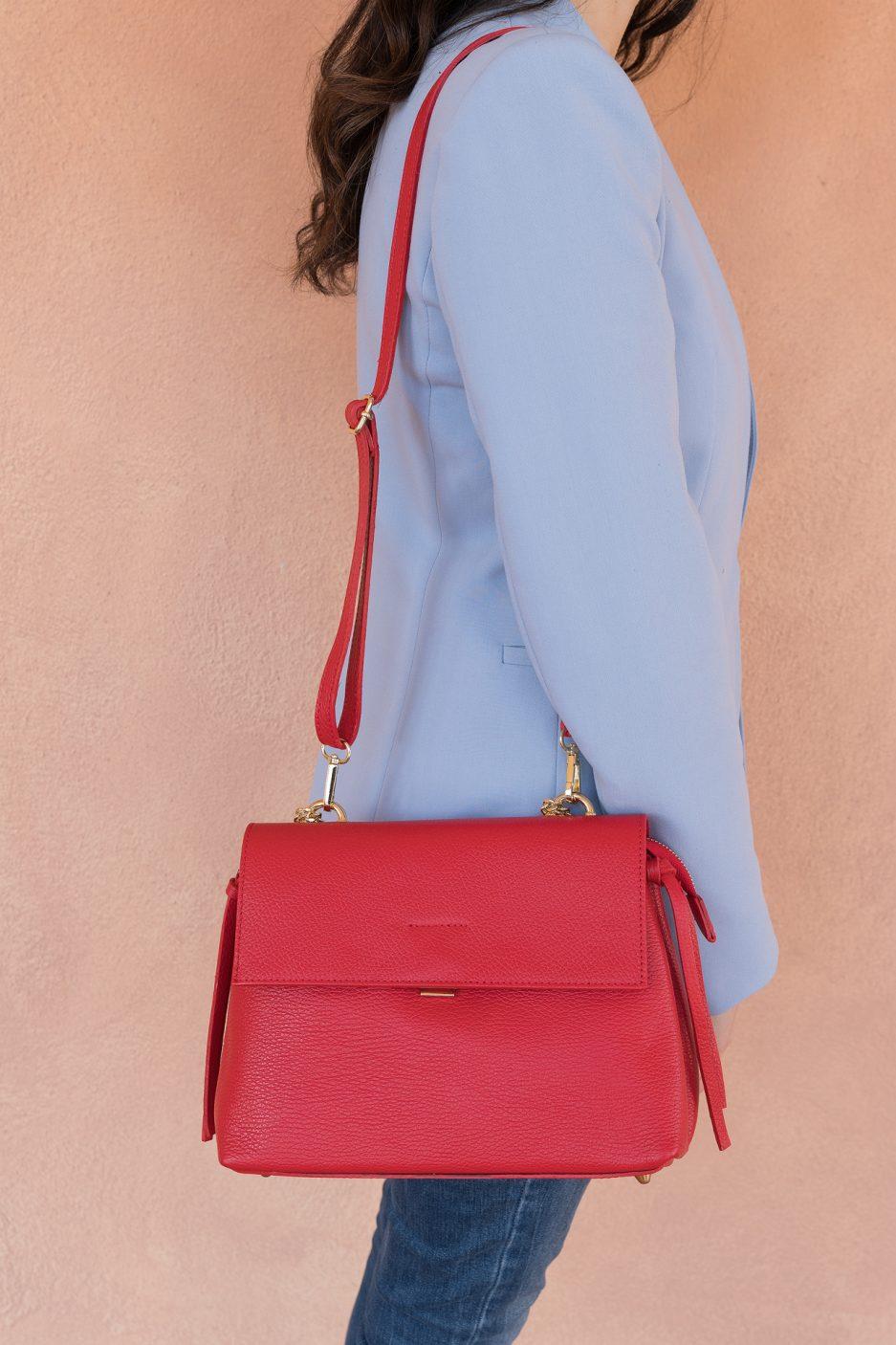 borsa rossa pell