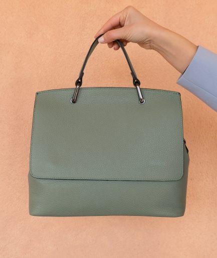 borsa verde pelle