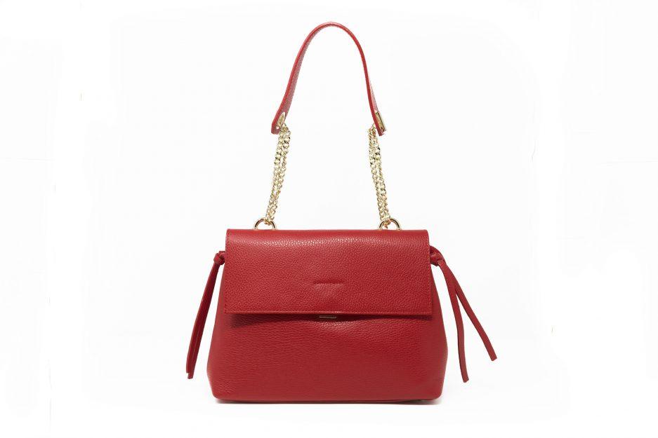 borsa pelle rossa