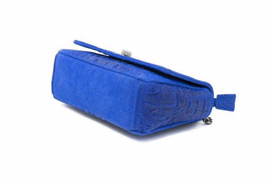 borsa blu elettrico coccodrillo