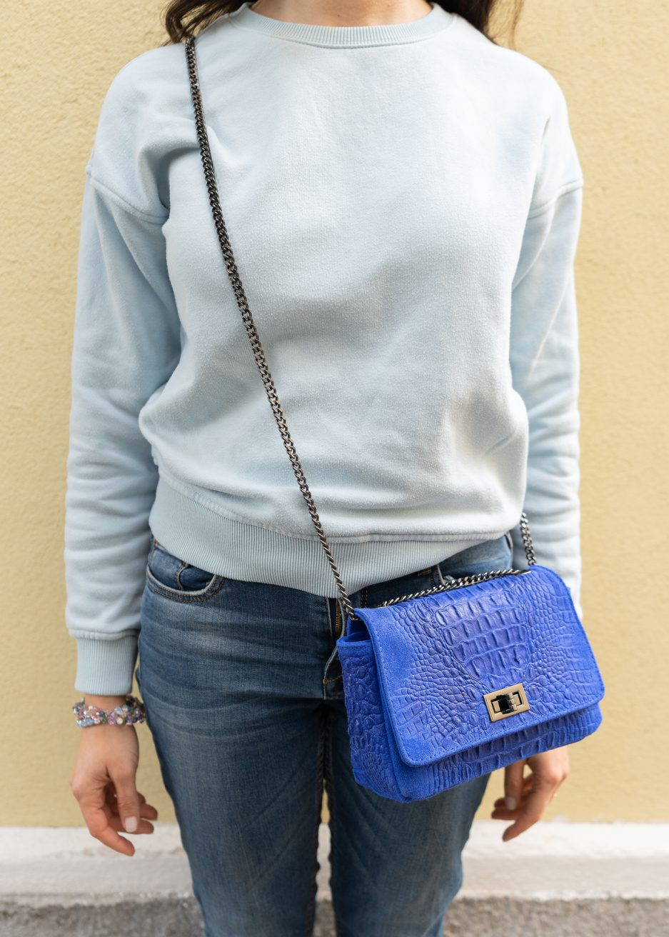 mini bag blu elettrico