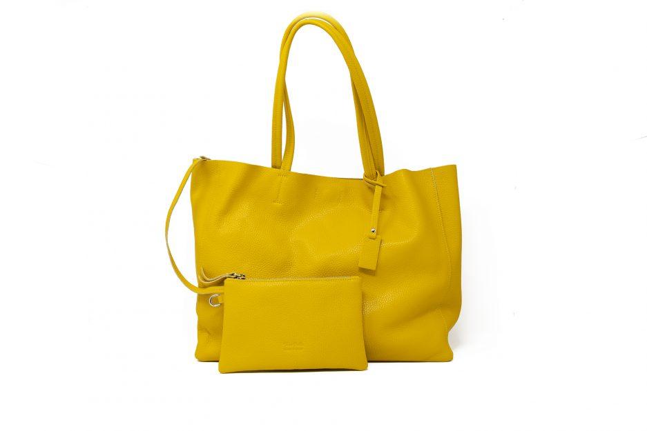 borsa gialla pelle