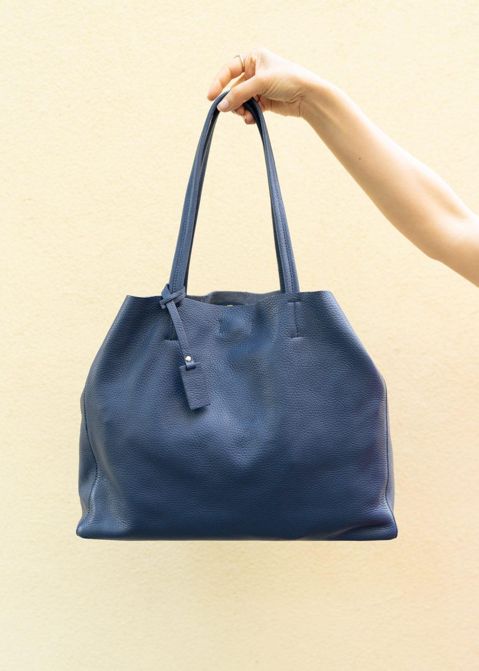 shopper blu pelle