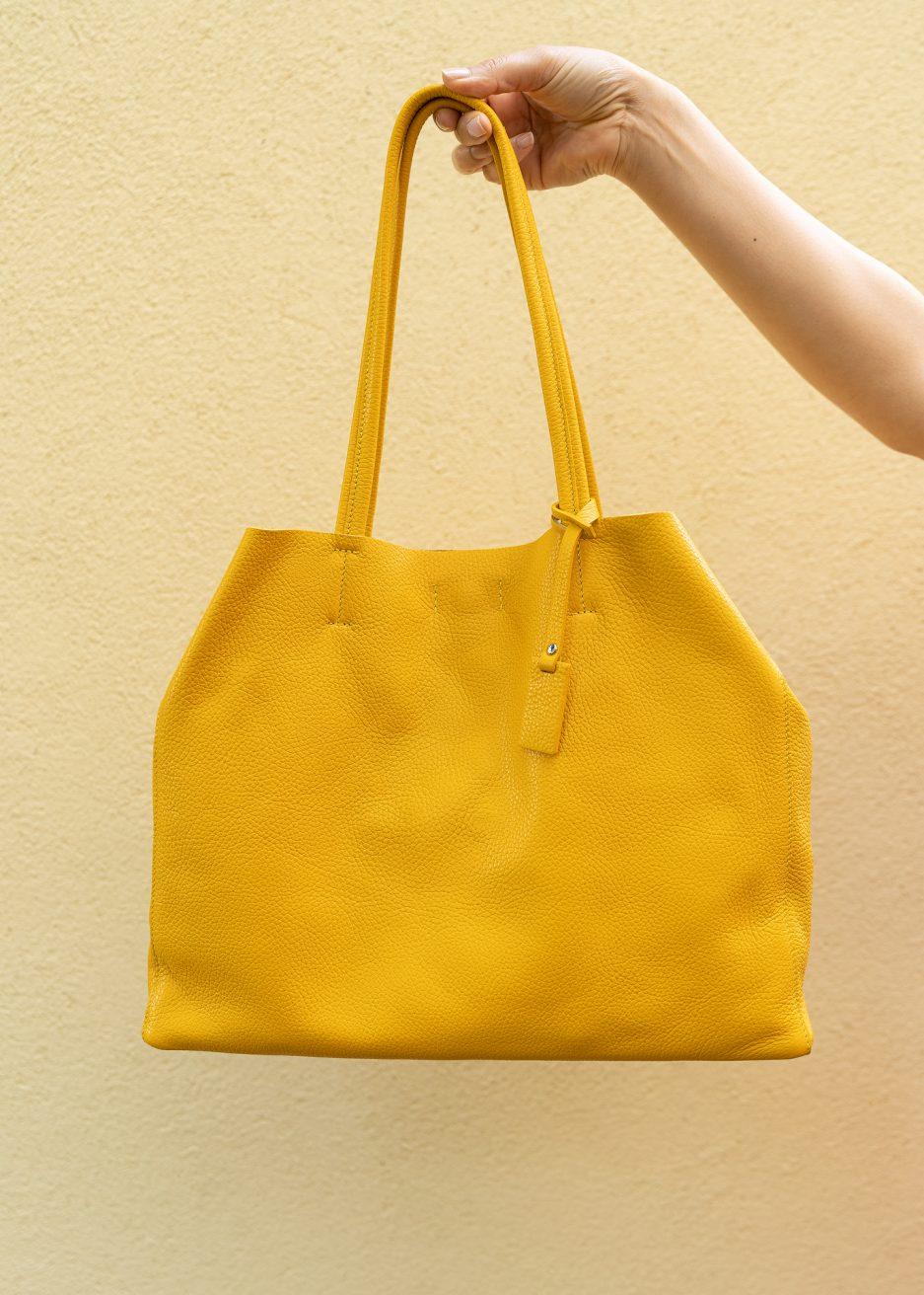 shopper gialla pelle